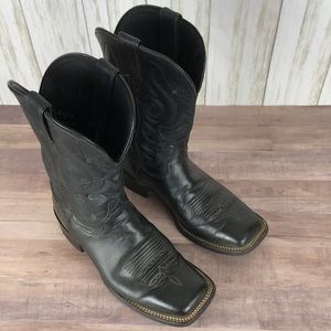 Justin Black Leather Square Toe Cowboy Boots W 8